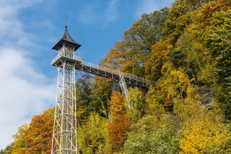 Historical Elevator in Bad Schandau, Saxon Scheiz in Germany, on a sunny autumn day  Stock Photo - 18583073