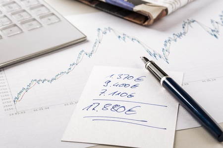Note exchanges of revenue next chart, calculator and financial newspaper Stock Photo - 18762140