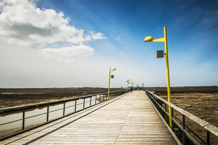 Bridge on the beach of St. Peter-Ording at the North Sea on a sunny day