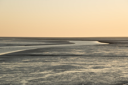 falling tide: Overlooking the tideland at the north sea at sunset