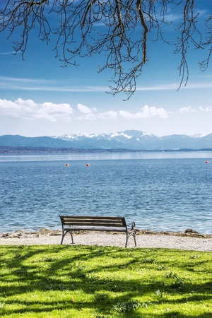 Portrait format image of Lake Starnberg with Bench and tree overlooking the Alps in sunny weather and blue sky