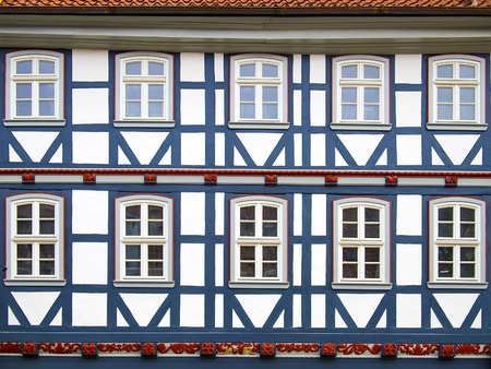 half timbered: Facade of a half-timbered house with blue wood in Duderstadt, Germany