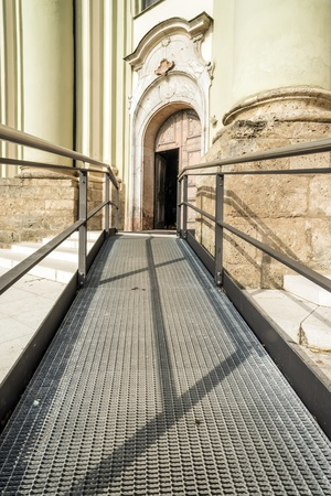 Accessible path to the entrance of a church photo