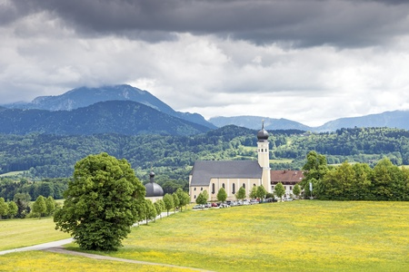 Pilgrimage church Wilparting in the landscape of Bavaria, Germany photo
