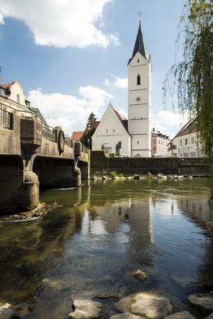River Amper and church St  Leonhard in the Bavarian town Furstenfeldbruck Stock Photo - 19844155
