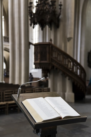 lectern: Picture of wooden lectern in church Stock Photo