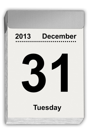 detachable: illustration of a tear off calendar with sheet December 31, 2013 Stock Photo