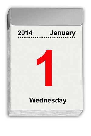 detachable: illustration of a tear off calendar with sheet January 1, 2014 Stock Photo