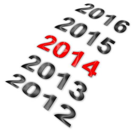 premonition: Illustration of series of years from 2012 to 2016 with highlighted 2014