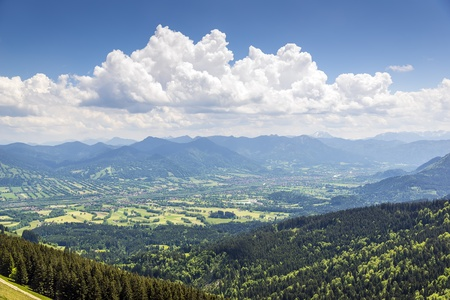 Picture of alps and valley in Bavaria, Germany on a sunny day with blue sky and white clouds Stock Photo - 20298809