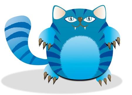 vector Illustration of a fat blue cat Vector