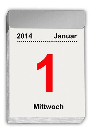 january 1: illustration of a tear off calendar with German sheet January 1, 2014 Stock Photo