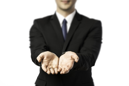 grasp: Businessman stretching out both hands to giving or receiving isolated on white background