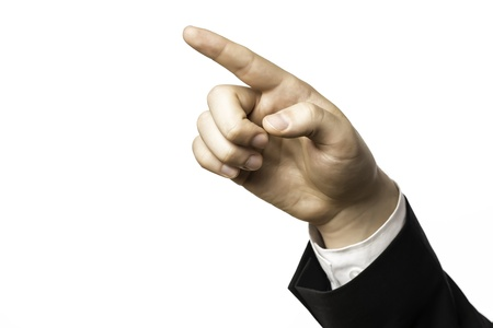 Finger of a businessman in a suit pointing at something, isolated on white background Stock Photo
