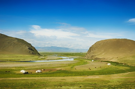 Mongolian steppe with grassland, yurts, horses and blue sky with white clouds