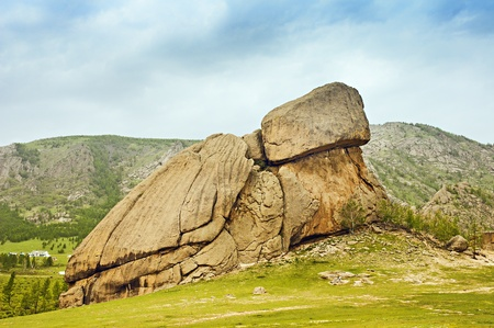mongolia horse: Turtle Rock in Terelj National Park Mongolia