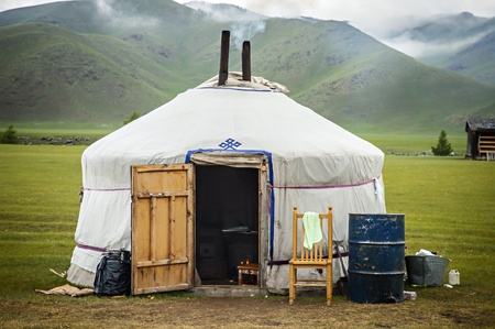 Typical Mongolian Yurt in Mongolia photo