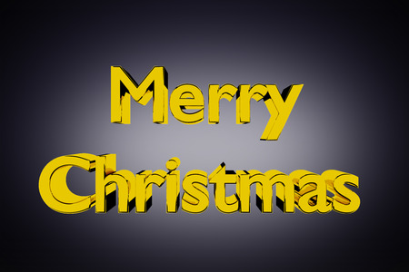 3D Illustration of golden Merry Christmas lettering on a grey background illustration