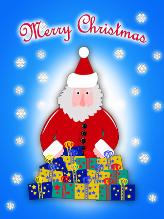 snow scape: Illustration of Santa Claus in red coat with Christmas presents and blue background