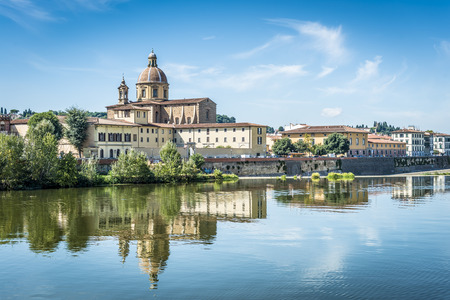 river arno: Picture of the church San Frediano with river Arno in Florence Stock Photo