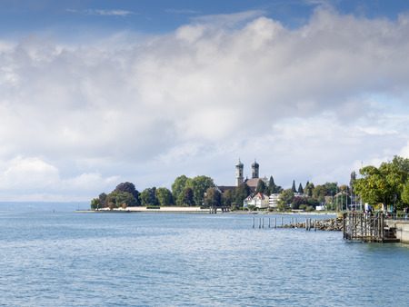 friedrichshafen: View to the lake Bodensee in the German town Friedrichshafen with the curch Schlosskirche in background on a sunny day