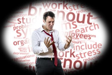 Schreeuwen, wanhopige man met burnout-syndroom Stockfoto