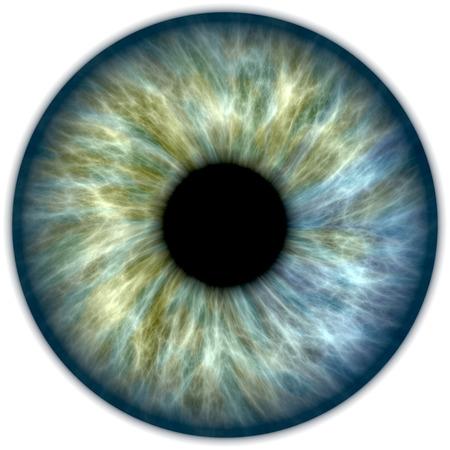 Ilustración de un azul y verde iris humano