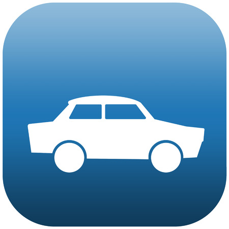 Blue icon illustration of a white car Stock Illustration - 24462797