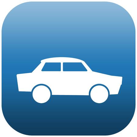 Blue icon illustration of a white car Stock Illustration - 24462797