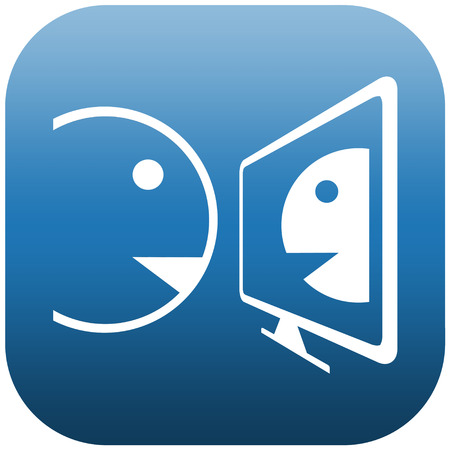 Blue and white icon illustration of two people doing chat on a screen illustration