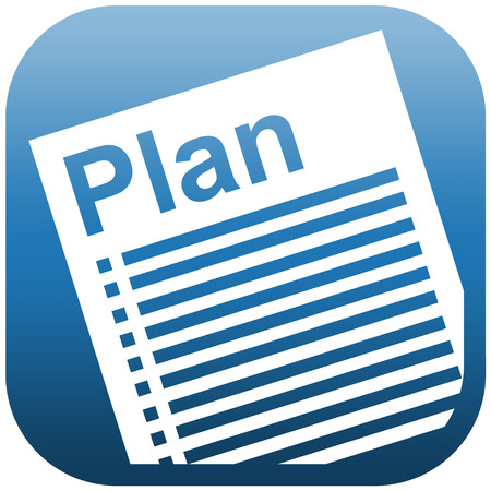 Blue white icon illustration of a document with heading Plan and checklist illustration