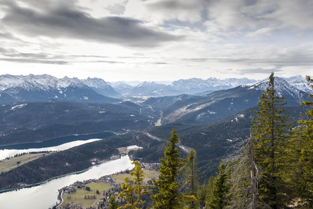 View from the mountain 'Herzogstand' to the alps and lake 'Walchensee' in Bavaria, Germany photo