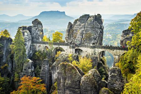 橋色の木が秋の晴れた日にザクセン スイス連邦共和国のドイツのバスタイと命名し、葉