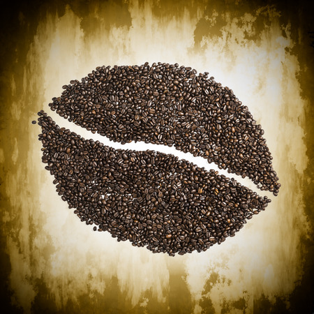 Image of a coffee bean made from coffee beans photo