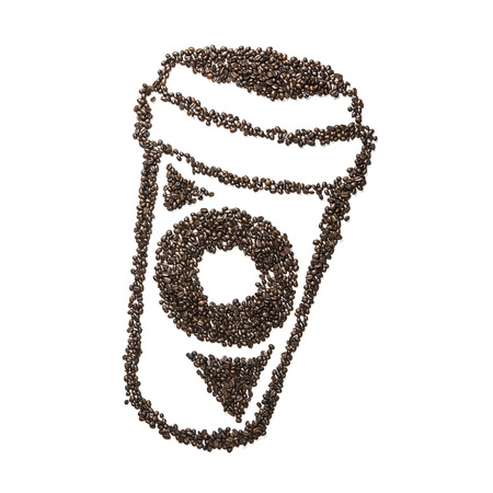 to go cup: Image of a coffee to go cup made from coffee beans isolated on white