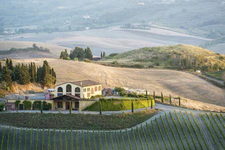 Landscape near Pienza, Tuscany Italy at sunset Stock Photo - 26261531