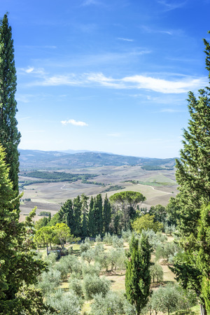 View from Pienza to the famous landscape of Tuscany, Italy Stock Photo - 26261576