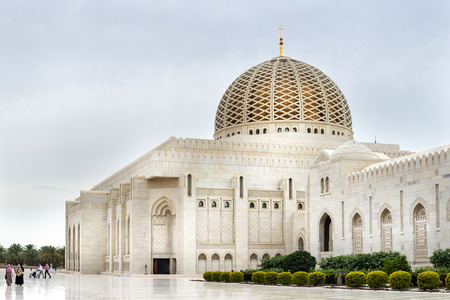 oman: Picture of Grand Sultan Qaboos Mosque in Muscat, Oman Stock Photo