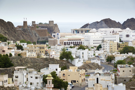 View to Muscat in Oman on a cloudy day Stockfoto