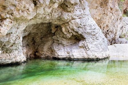 Image of water in Wadi Shab in Oman with rocks Stock fotó - 27718808