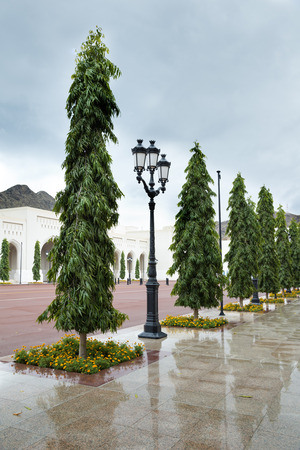 muttrah: Place at Sultan Qaboos Palace in Muscat, Oman on a cloudy day with rain