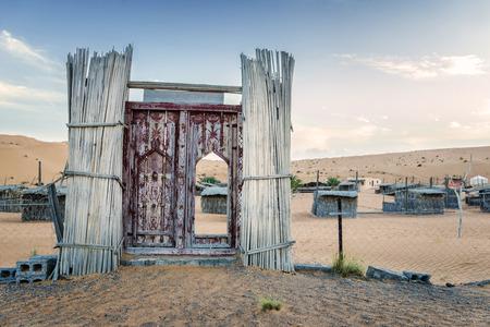 オマーンでのキャンプ Wahiba 砂漠の入り口