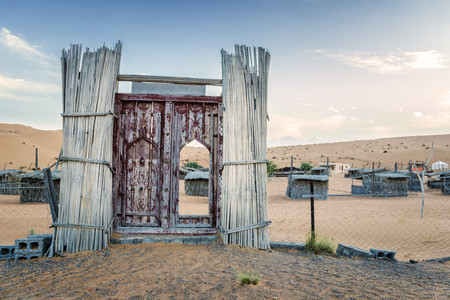 Entrance desert camp Wahiba in Oman