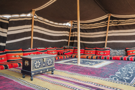 abu dhabi: Tent desert camp Wahiba with wooden chest in Oman Stock Photo