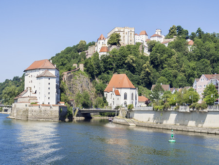 Veste Oberaus in Passau with river Danube and Ilz, Germany Stock Photo