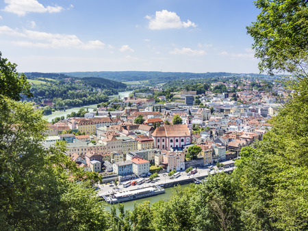Passau in Germany with river Danube and Inn in Summer