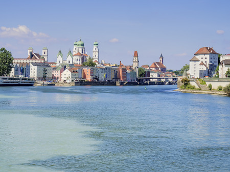 Passau in Germany with river Inn and cathedral in Summer