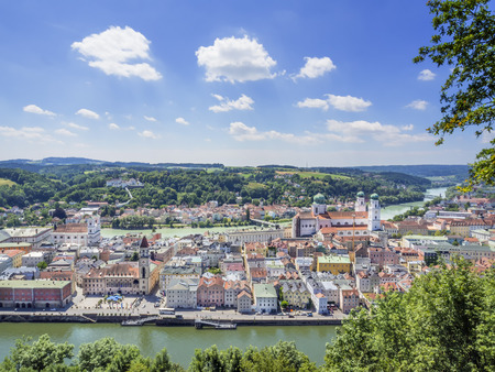 Passau in Germany with rivers Danube and Inn in Summer