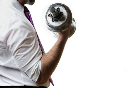 Businessman holding a silver dumbbell in the right hand Stock fotó - 29687127