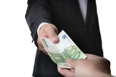 venal: Businessman in dark suit receives a bill